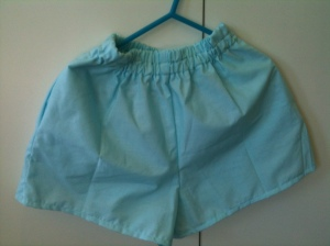 Finished pair of shorts from a small portion of a flat sheet. Perfect for summer.