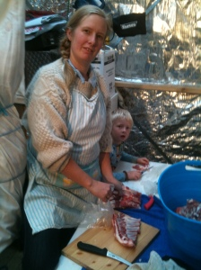 Jas was most keen and very helpful cutting fat off the meat destined for sausages.