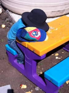 Lunch is hard work! Truly, this kid can fall asleep absolutely anywhere!